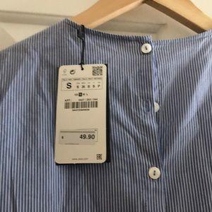 Zara Tops - Zara oxford stripe tie front top